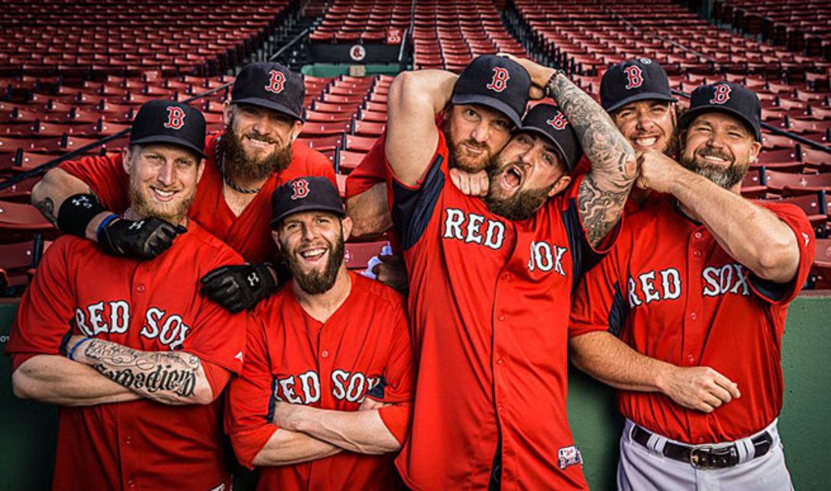 Boston's beard brigade (left to right): Mike Carp, Jonny Gomes, Dustin Pedroia, Ryan Dempster, Mike Napoli, Jarrod Saltalamacchia and David Ross.