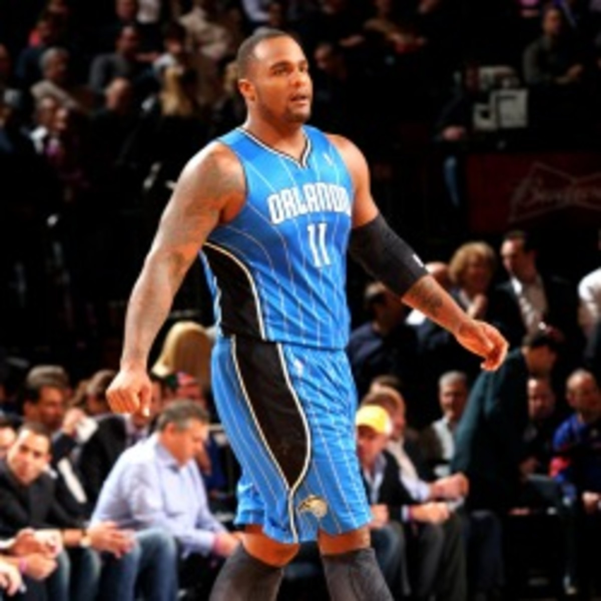 Magic forward Glen Davis broke his left foot against the Knicks. (Ray Amati/NBA/Getty Images)