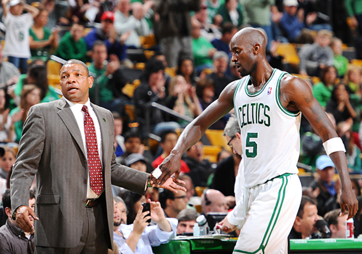 Doc Rivers and Kevin Garnett of the Boston Celtics