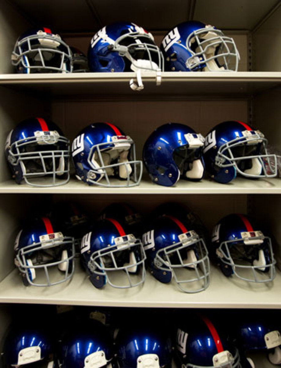 The different helmets available to Giants players are on display in an equipment room at the team facility. (Demetrius Freeman/The New York Times)
