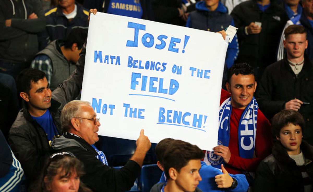 Chelsea fans held up this sign directed at Jose Mourinho during the Champions League last week.