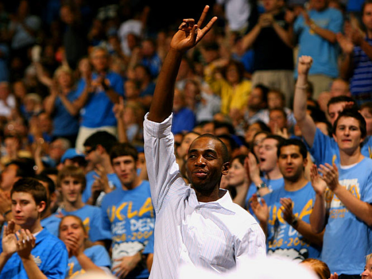Arizona St. at UCLA, former Bruin, Luc Mbah a Moute waves to the crowd.