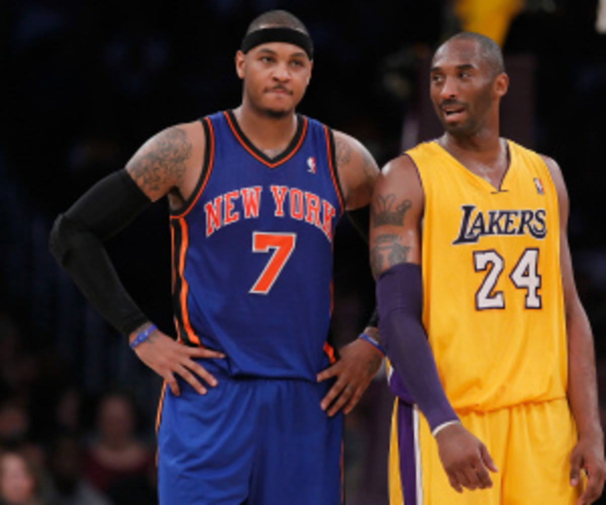 Kobe Bryant said Carmelo Anthony is the hardest player in the league for him to guard. (Jeff Gross/Getty Images)