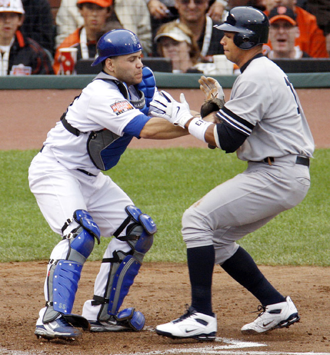 Russell Martin, left, and Alex Rodriguez