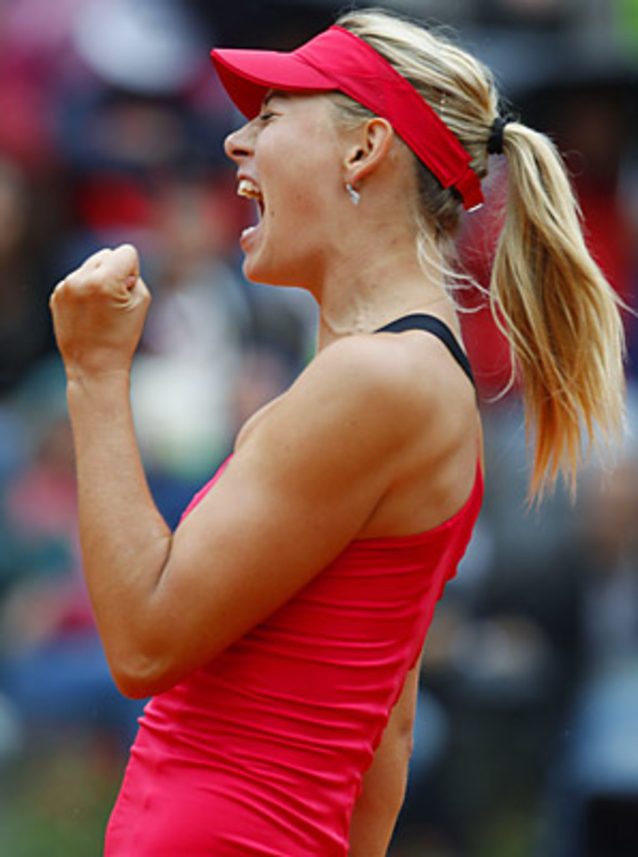 Maria Sharapova rallied after losing the first set 6-4 and trailing 4-0 in the second.