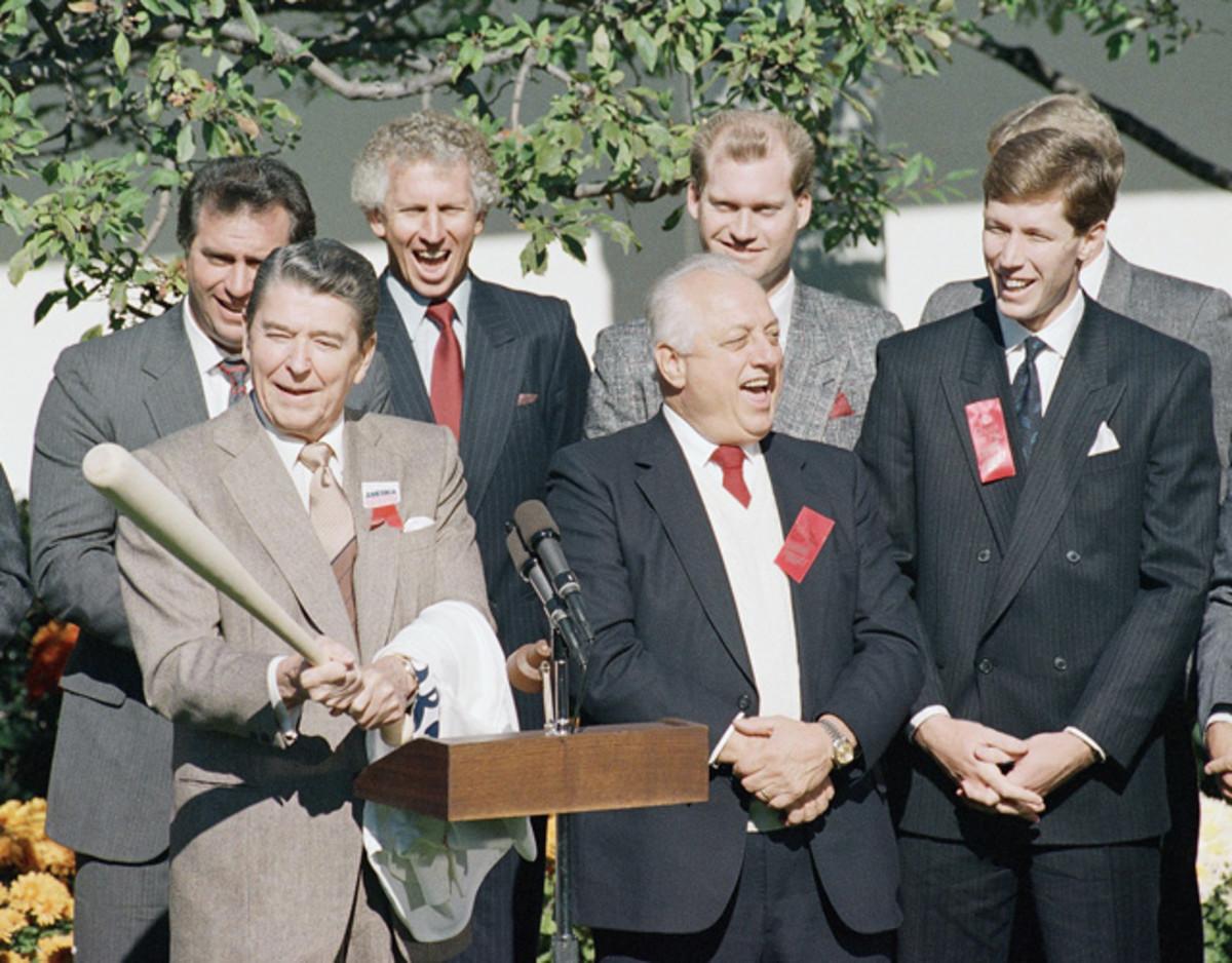 Ronald Reagan, Tommy Lasorda and Orel Hershiser