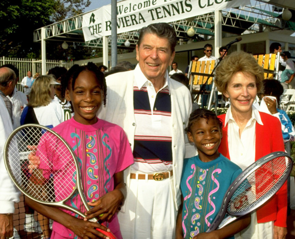Venus Williams, Ronald Reagan, Serena Williams and Nancy reagan
