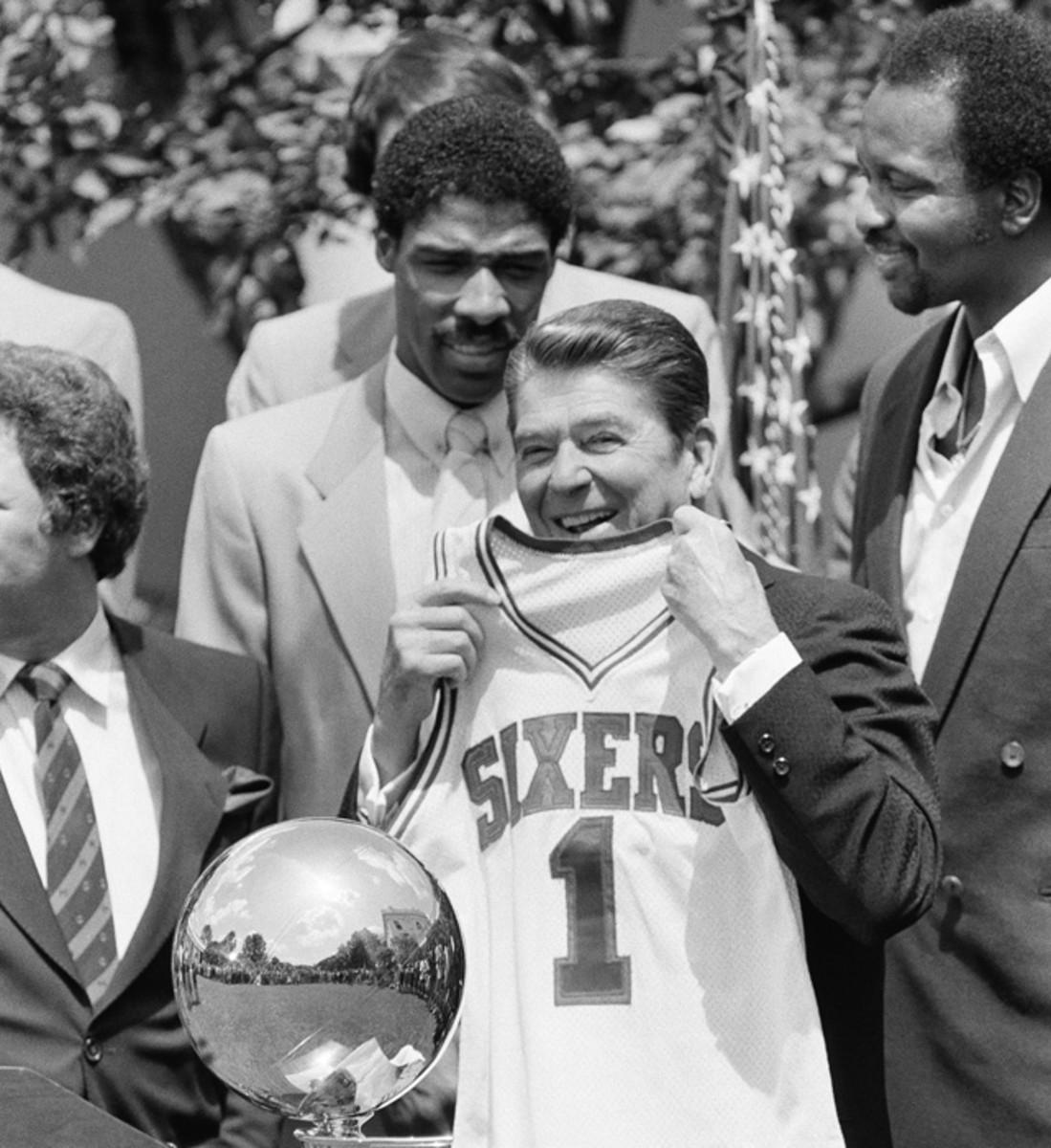 Julius Erving, Ronald Reagan and Moses Malone