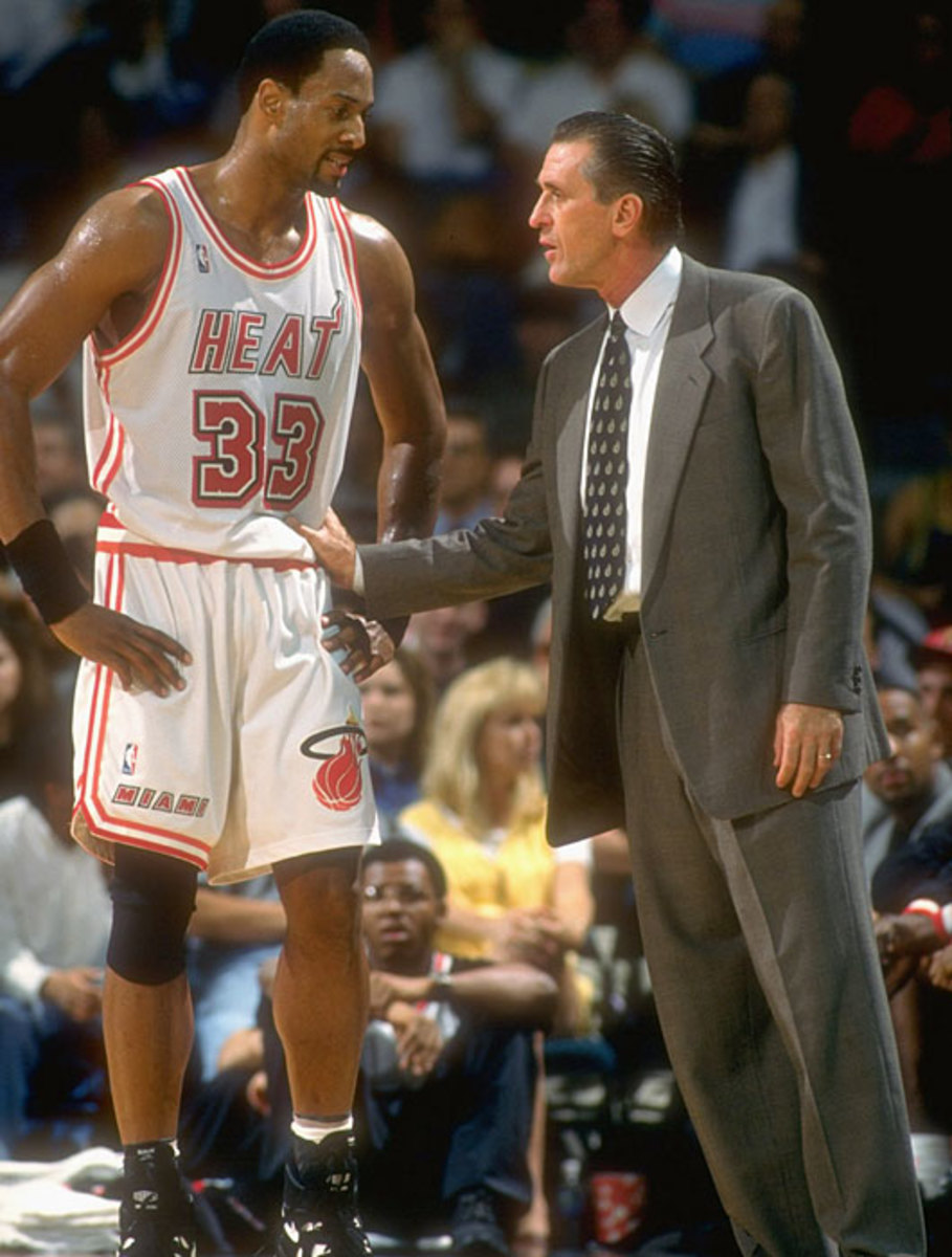 Pat Riley and Alonzo Mourning