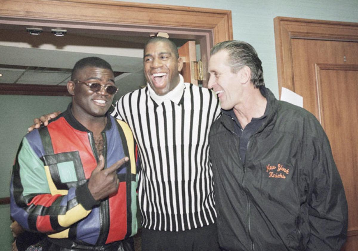 Lawrence Taylor, Magic Johnson and Pat Riley