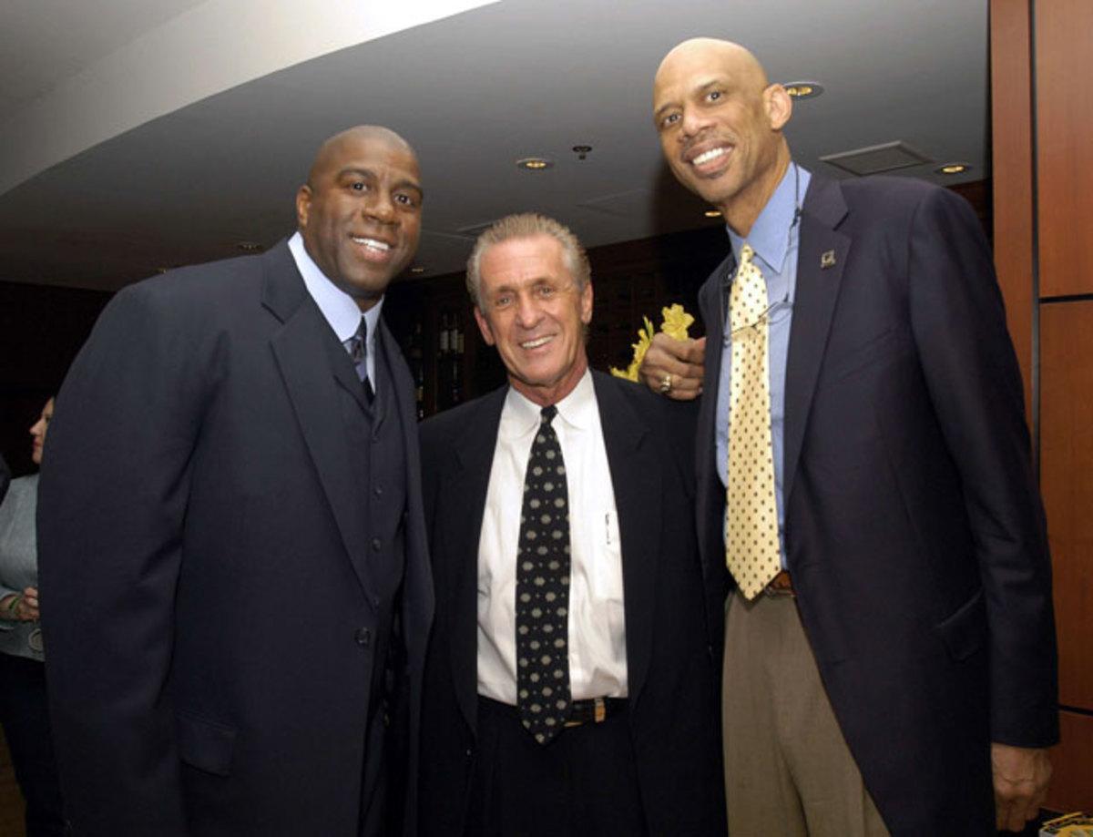 Magic Johnson, Pat Riley and Kareem Abdul-Jabbar