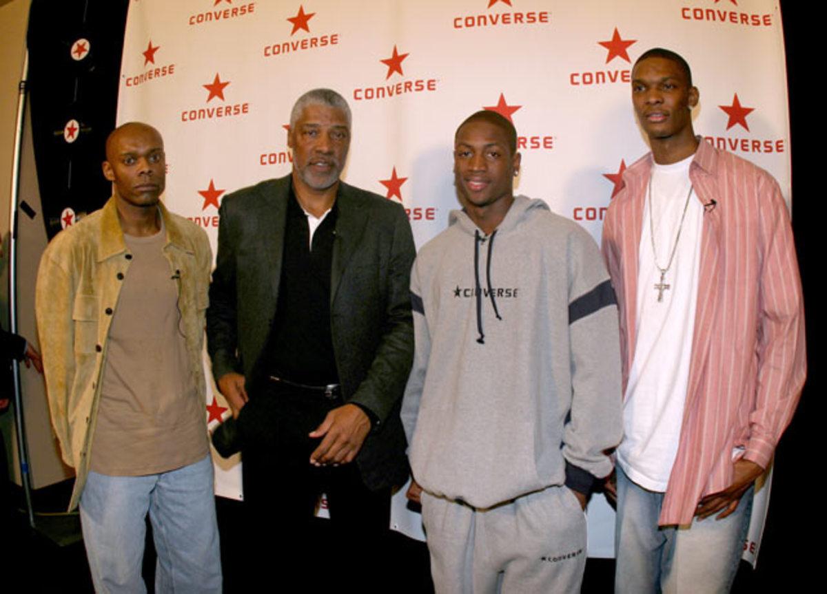Ric Wilson, Julius Erving, Dwyane Wade and Chris Bosh