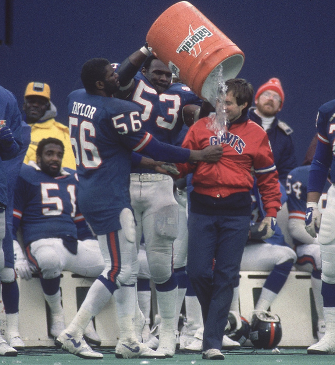 Harry Carson, Lawrence Taylor and Bill Belichick