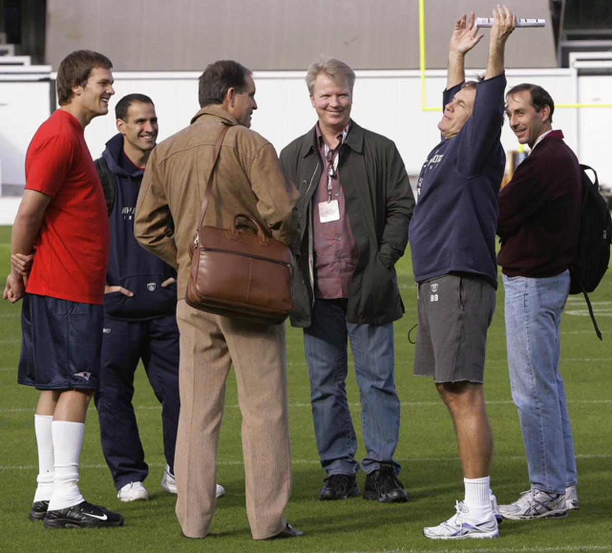 Bill Belichick, Jim Nantz, Tom Brady and Phil Simms