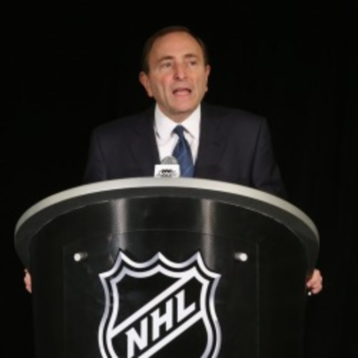NHL Commissioner Gary Bettman's league is now in the 91st day of the lockout. (Bruce Bennett/Getty Images)