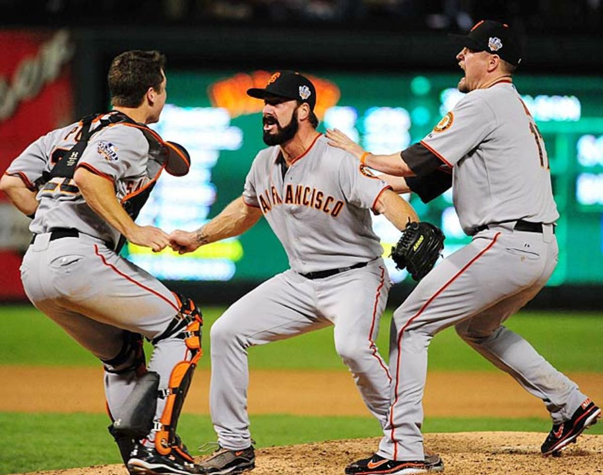 Buster Posey, Brian Wilson and Aubrey Huff