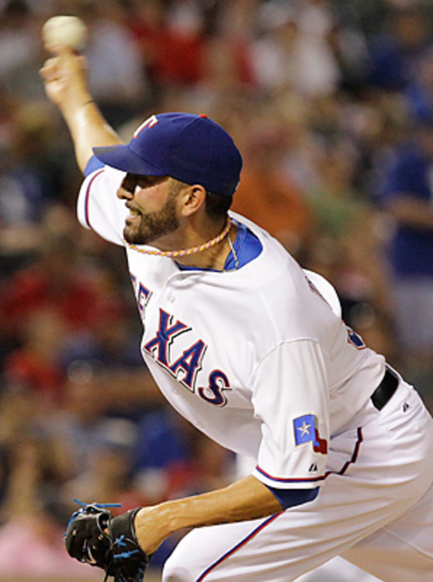 Mike Adams was 5-3 with a 3.27 ERA with the Rangers in 2012.
