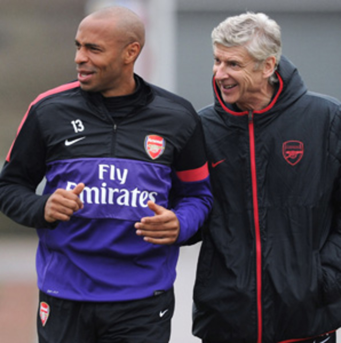 Thierry Henry (left) is currently training with Arene Wenger's Arsenal squad during the offseason in Major League Soccer.