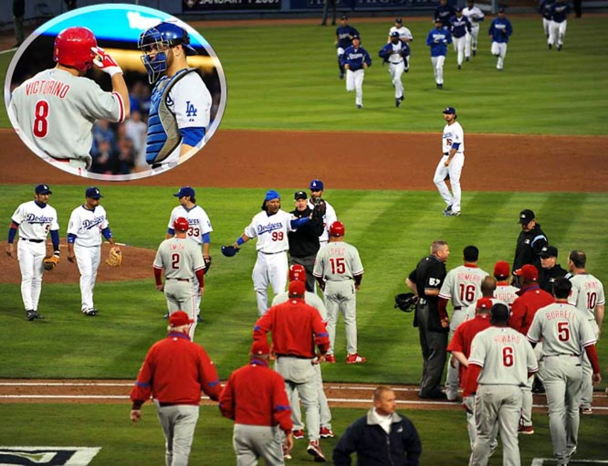 Dodgers and Phillies play beanball in NLCS