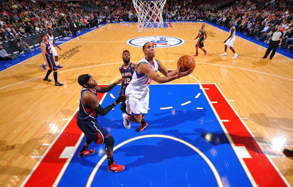 Evan Turner was among the Sixer guards able to compromise the Hawks' weary defense. (Photo by Jesse D. Garrabrant/NBAE via Getty Images)