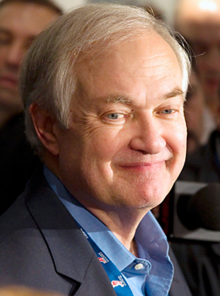 Donald Fehr spoke to the media before a charity hockey game on Wednesday.