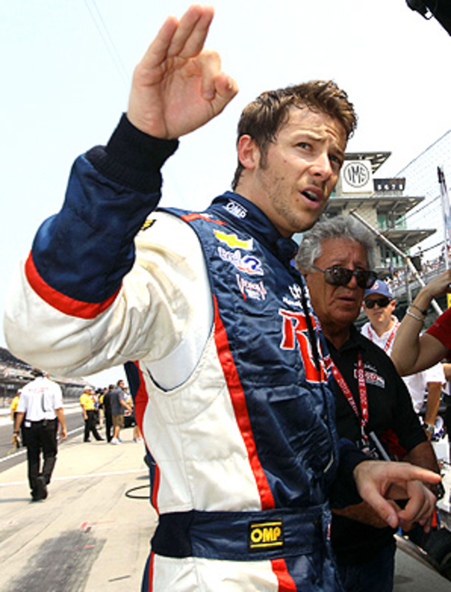 """Marco Andretti, with grandfather Mario Andretti (right), was the third-fastest driver in Friday's final """"Carb Day"""" practice before the Indy 500."""