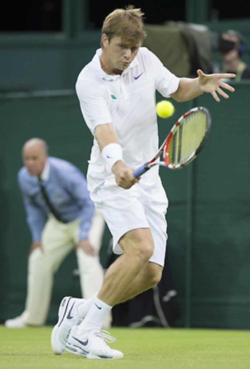 Ryan Harrison fell in straight sets to Novak Djokovic on Centre Court.