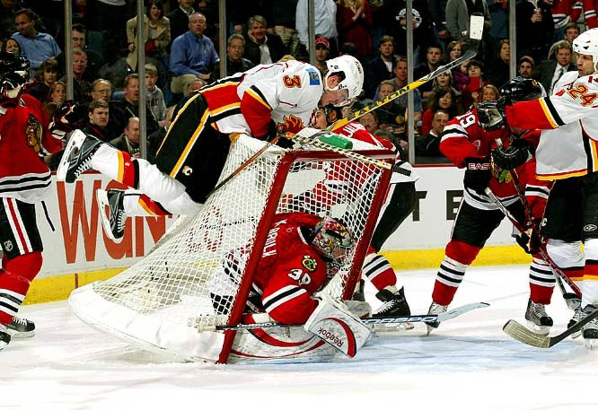 Dion Phaneuf topples the net