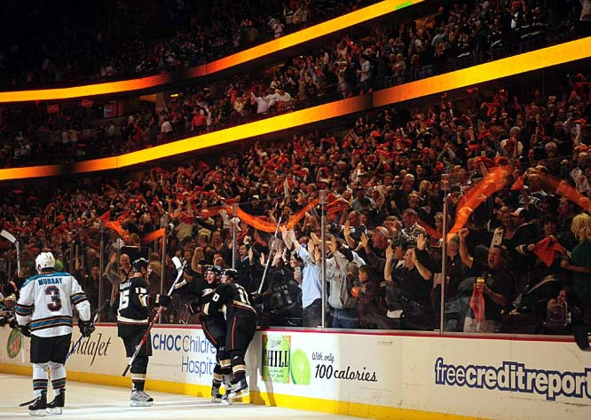 Getzlaf, Ryan, and Perry line celebrates
