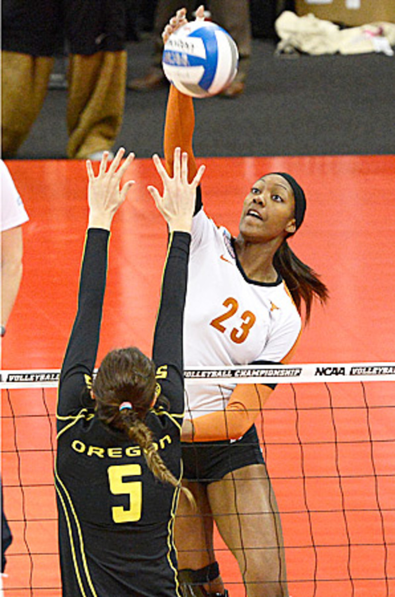 Junior outside hitter Bailey Webster (23) led Texas with 14 kills in their title game victory over Oregon.