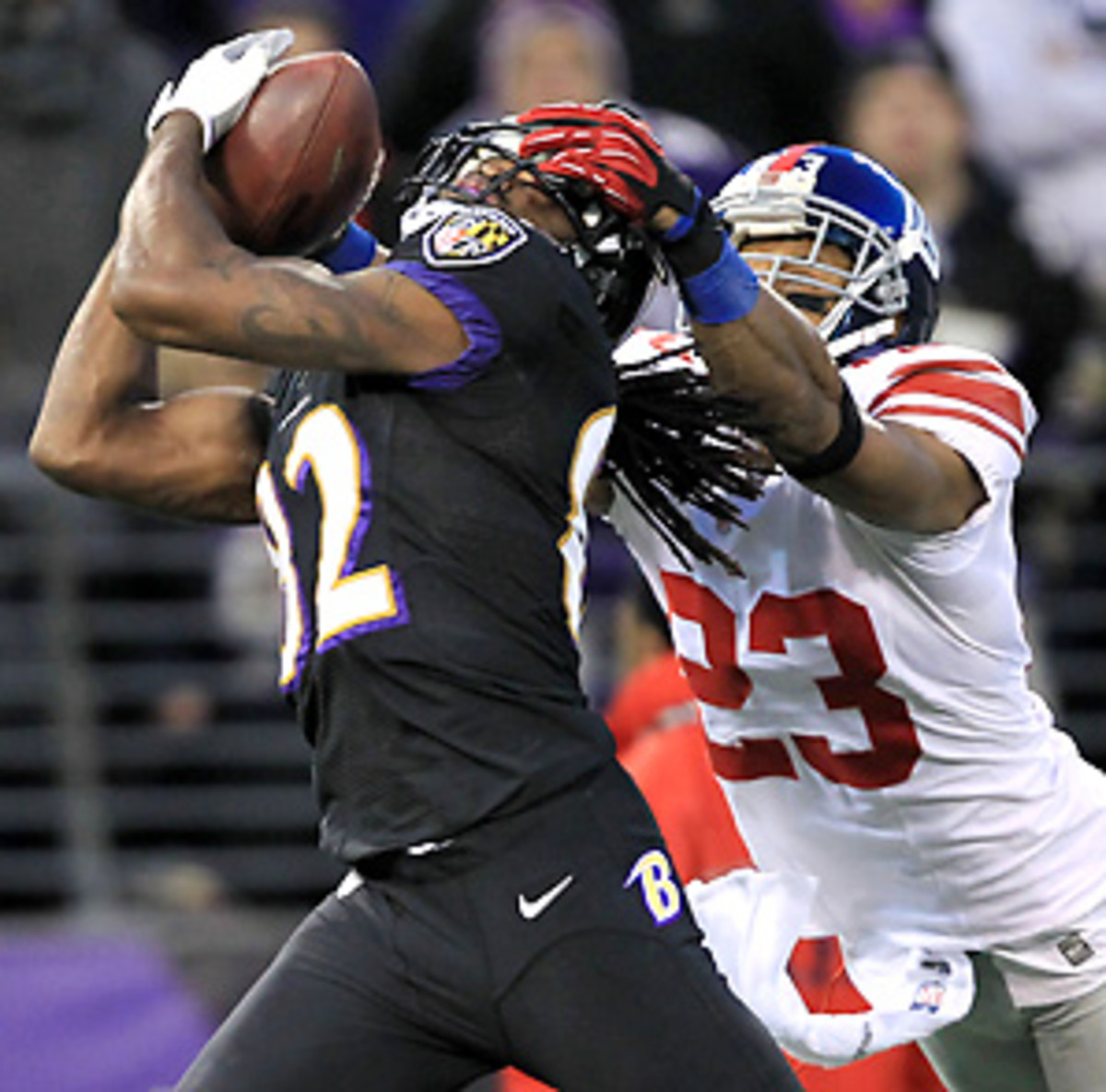 After catching a six-yard touchdown, Torrey Smith's 43-yard reception set the Ravens up for their second score of the day. (The Star-Ledger-USA TODAY Sports)