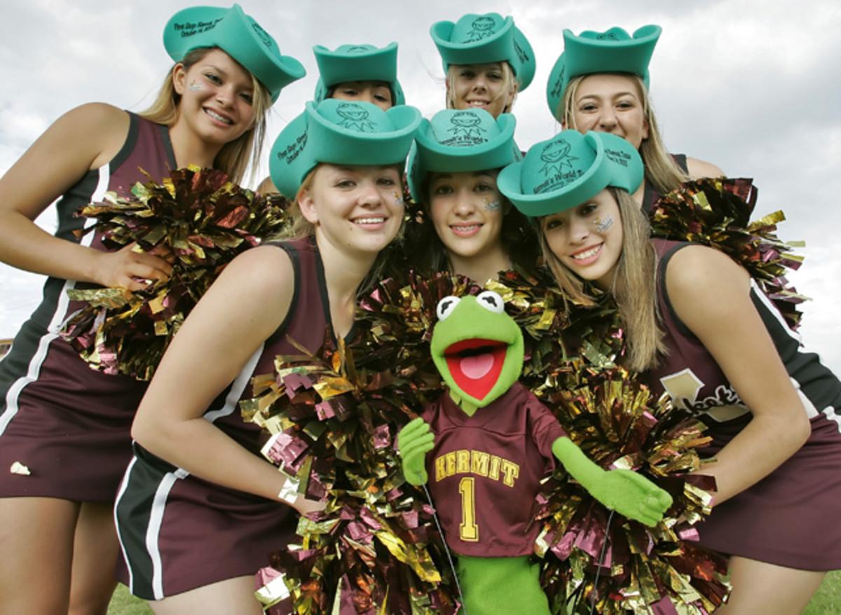 Kermit the Frog and Cheerleaders