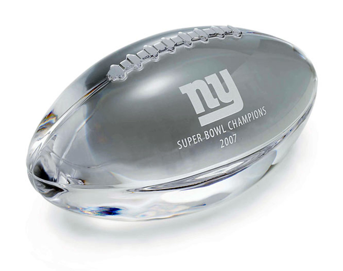 New York Giants football paperweight in crystal