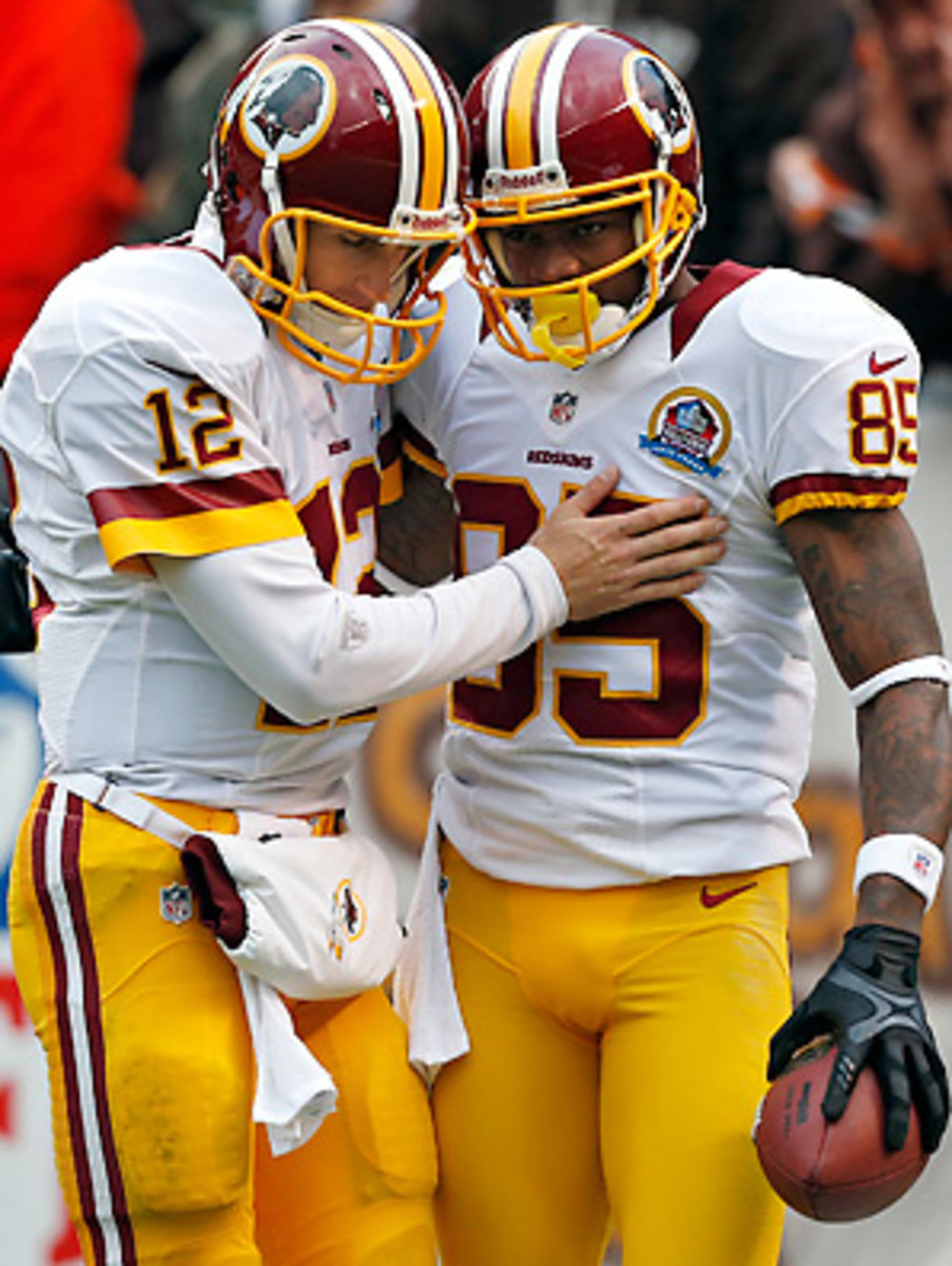 Kirk Cousins found Leonard Hankerson on both of his touchdown passes, the first for 54 yards and the second for 2.
