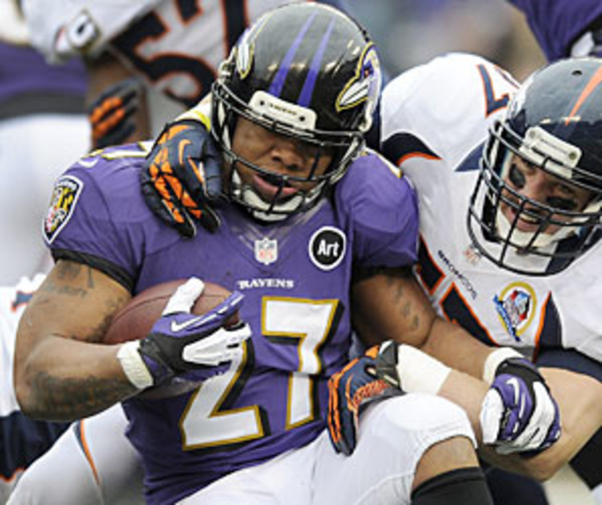 Despite the Ravens' change to a supposedly more run-friendly scheme, Ray Rice had only 12 carries for 38 yards versus the Broncos.