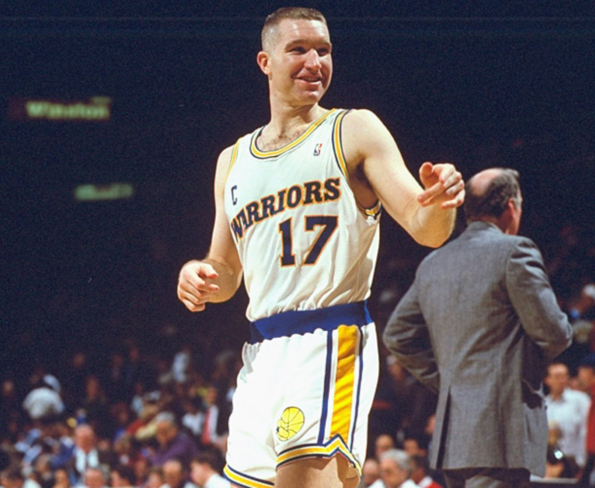 Chris Mullin takes a breather during a 1992 Warriors game. (John W. McDonough/SI)