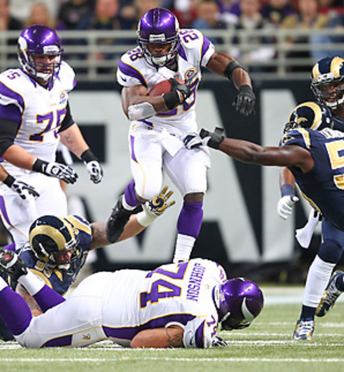 Adrian Peterson is averaging a remarkable 6.3 yards per carry this season. (Dilip Vishwanat/Getty Images)