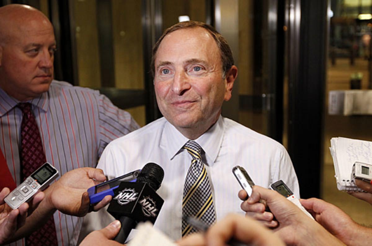 NHL Commissioner Gary Bettman speaks ot the media after a CBA session.