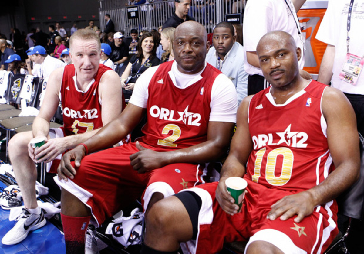 Mullin, Richmond and Hardaway play in the celebrity game during All-Star weekend last February. (Jack Arent/NBAE via Getty Images)