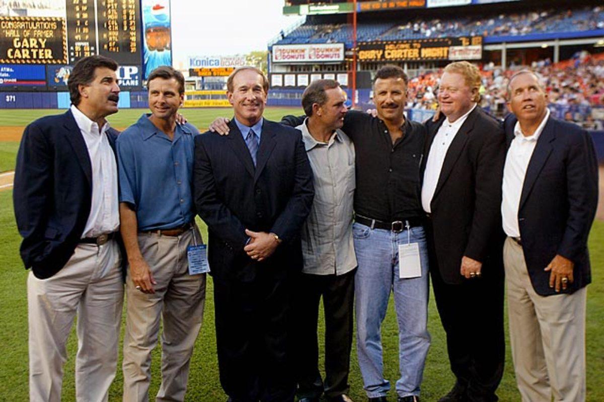 Keith Hernandez, Tim Teufel, Gary Carter Howard Johnson, Bobby Ojeda, Rusty Staub and Davey Johnson