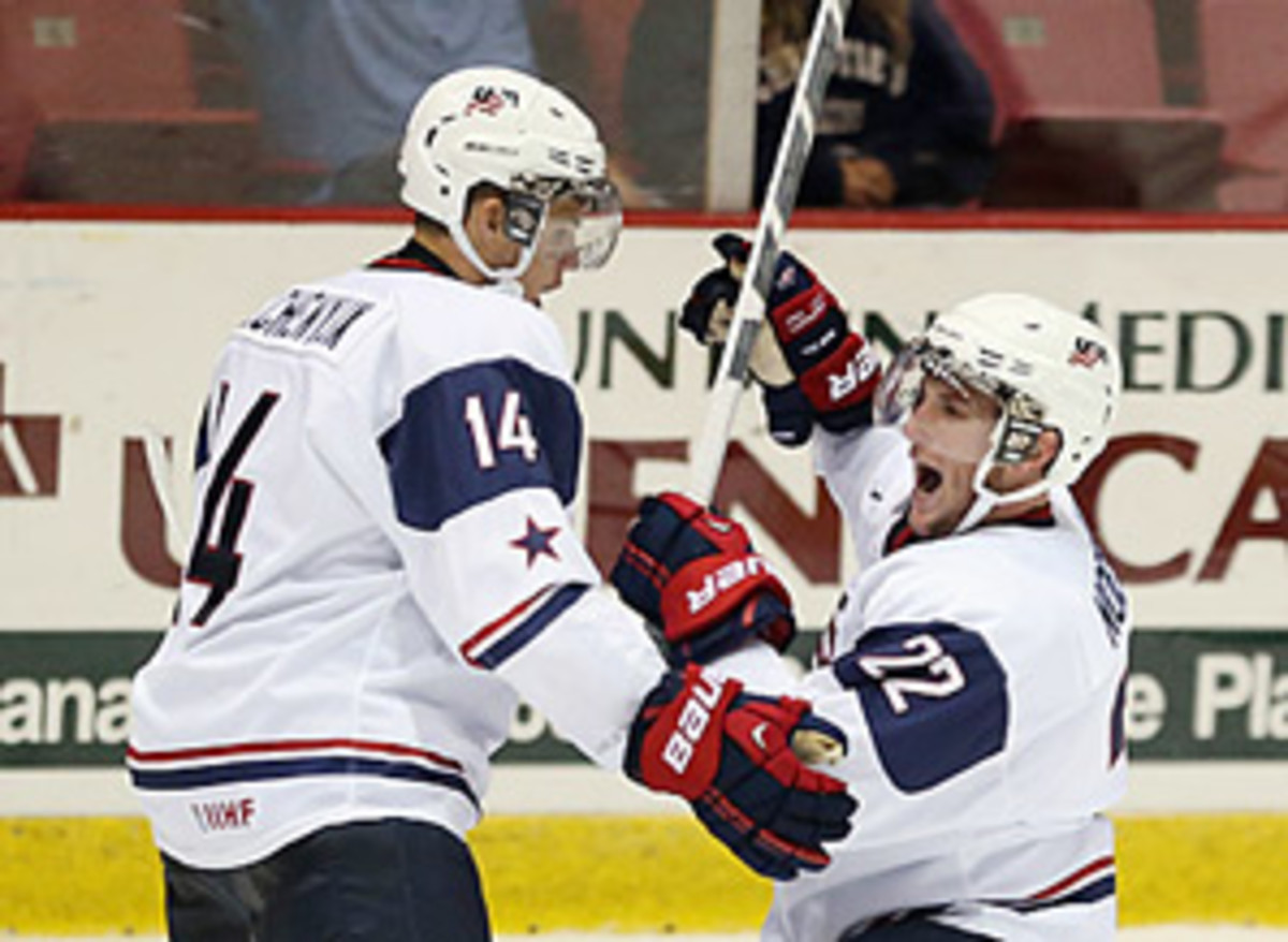 Sniper Alex Galchenyuk (left) is the USA's top scoring threat, but the team will be without the suspended Stefan Noesen.