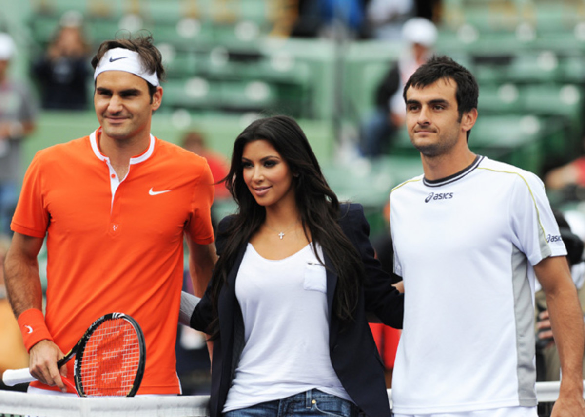 Roger Federer, Florent Serra and Kim Kardashian