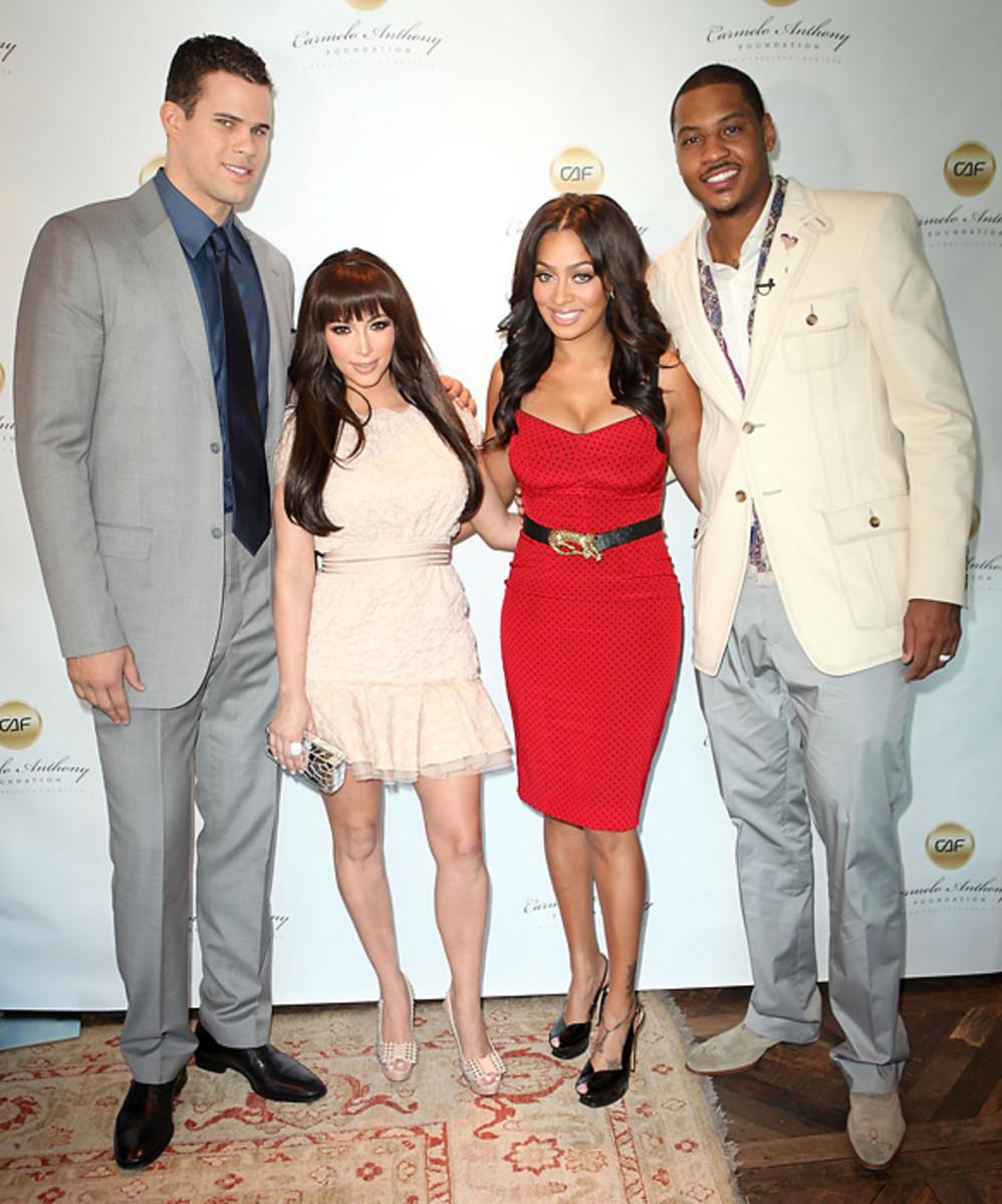 Kris Humphries, Kim Kardashian, LaLa Vasquez, and Carmelo Anthony