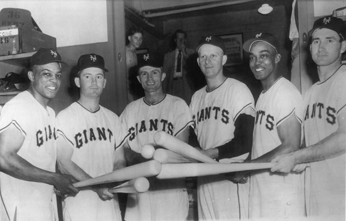 Willie Mays, Dave Williams, Billy Gardner Whitey Lockman, Monte Irvin, and Al Dark