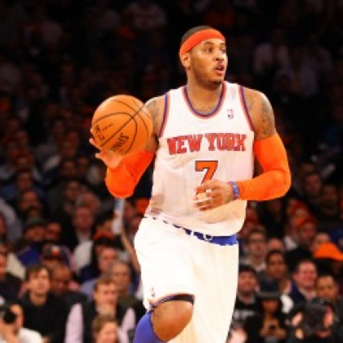 Knicks forward Carmelo Anthony expects his team to get to at least the Eastern Conference Finals. (Al Bello/Getty Images)