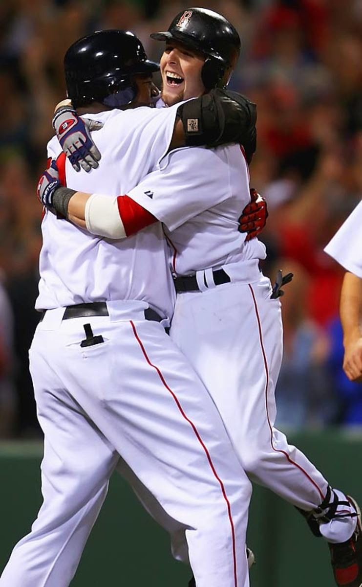 Dustin Pedroia Hugging Dave Ortiz