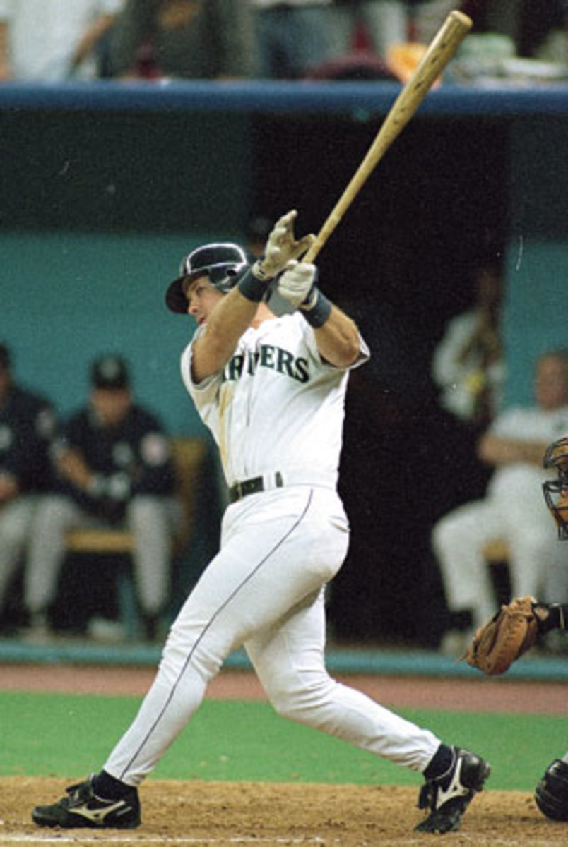 Edgar Martinez's series-winning double in the 1995 ALDS was arguably the biggest hit of his career. (V.J. Lovero/SI)