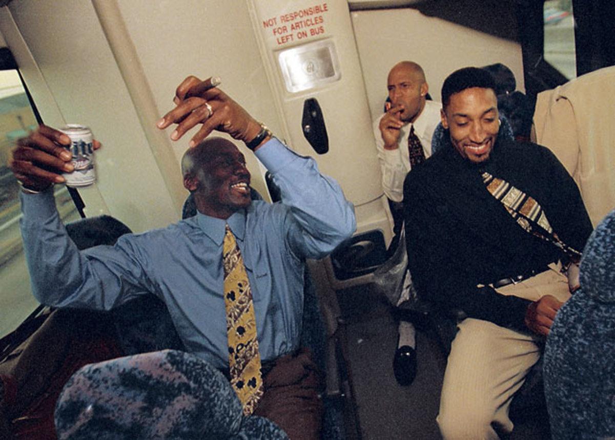 Michael Jordan, Ron Harper, and Scottie Pippen