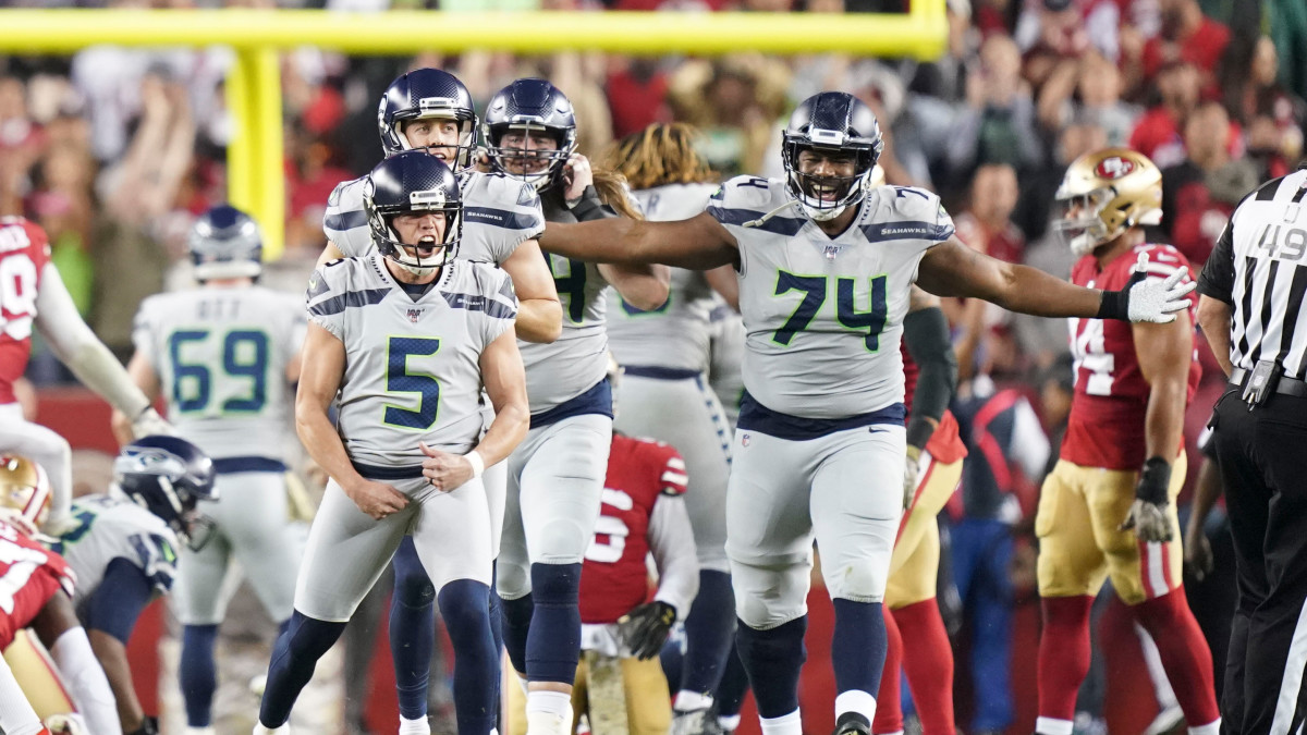 Jason Myers's 42-yard field goal as time expired in overtime lifted the Seahawks to victory.