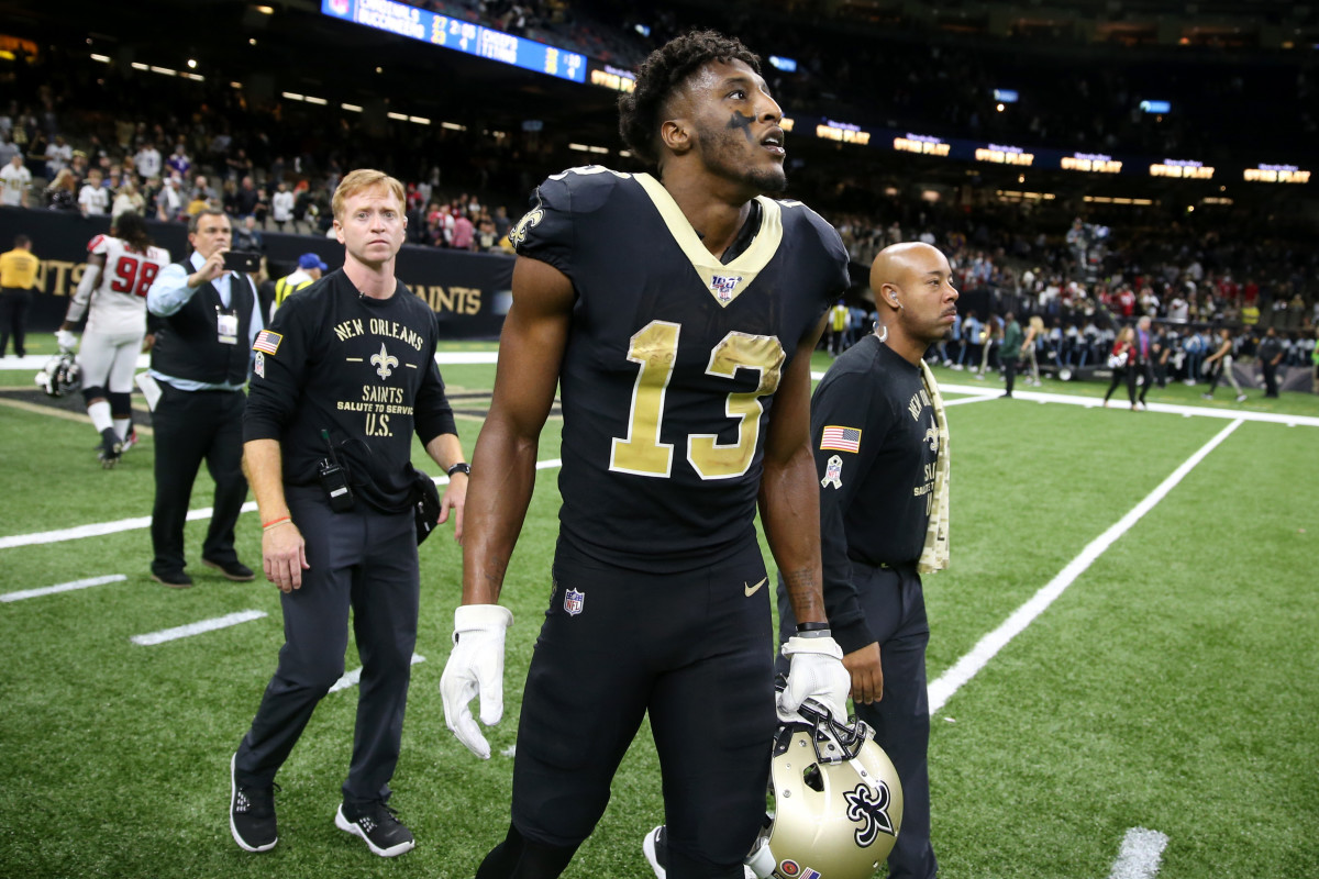 Nov 10, 2019; New Orleans, LA, USA; New Orleans Saints wide receiver Michael Thomas (13) walks off the field after a loss to the Atlanta Falcons at the Mercedes-Benz Superdome. Mandatory Credit: Chuck Cook-USA TODAY Sports